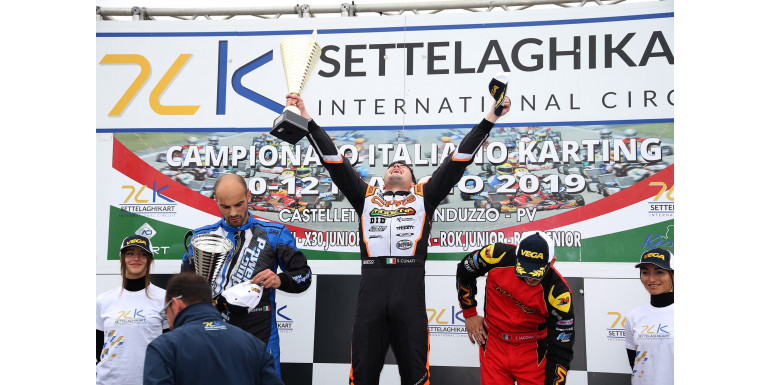 Modena Kart wins race 1 with Cunati and goes to the podium in Race 2